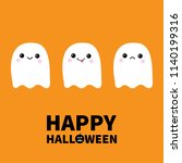 happy halloween. three flying... | Shutterstock .eps vector #1140199316