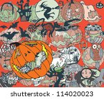 halloween colorful background ... | Shutterstock .eps vector #114020023