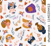 seamless pattern   women of... | Shutterstock .eps vector #1140204413