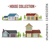 colorful flat residential... | Shutterstock .eps vector #1140210356