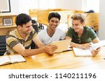 three laughing students... | Shutterstock . vector #1140211196