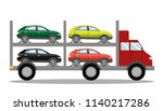 red tow truck full of cars.... | Shutterstock .eps vector #1140217286