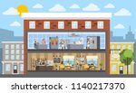 bakery building interior with... | Shutterstock .eps vector #1140217370