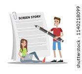 people writing scenario for...   Shutterstock .eps vector #1140218099