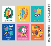 set of creative cards. happy... | Shutterstock .eps vector #1140218669