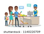 people in the grocery store... | Shutterstock .eps vector #1140220709