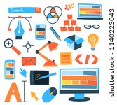 web or graphic design icon set. ... | Shutterstock .eps vector #1140223043
