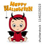 baby boy disguised as a demon.... | Shutterstock .eps vector #1140225023