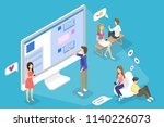 young happy people chatting... | Shutterstock .eps vector #1140226073