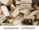 pile of chopped firewood for... | Shutterstock . vector #114022654