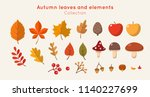 autumn leaves and elements... | Shutterstock .eps vector #1140227699
