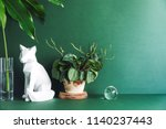 Green Minimalistic Room With...