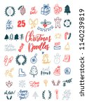 hand drawn christmas decorative ... | Shutterstock .eps vector #1140239819