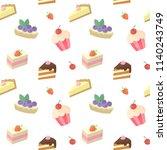 seamless vector cake pattern.... | Shutterstock .eps vector #1140243749