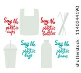 say no to plastic cups bags... | Shutterstock .eps vector #1140244190