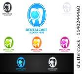dental logo tooth abstract... | Shutterstock .eps vector #1140244460