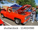 FREDERICK, MD- SEPTEMBER 16: 1980 Red Chevy Pickup Truck on Sept. 16, 2012 in Frederick , MD USA. Alzheimer's Association Benefit Car Show at Motor Vehicle Administration in Maryland. - stock photo