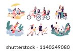 collection of family outdoor... | Shutterstock .eps vector #1140249080