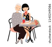 pair of man and woman sitting... | Shutterstock .eps vector #1140249086