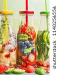 close up of infused water in... | Shutterstock . vector #1140256556