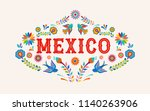 mexico background  banner with... | Shutterstock .eps vector #1140263906
