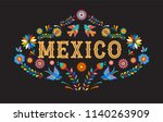 mexico background  banner with... | Shutterstock .eps vector #1140263909