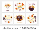 vector set of halloween... | Shutterstock .eps vector #1140268556