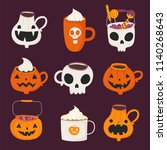 cute halloween set with... | Shutterstock .eps vector #1140268643