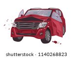automobile damaged by collision ... | Shutterstock .eps vector #1140268823