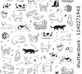 different doodle cats and dogs... | Shutterstock . vector #1140271943