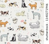 different doodle dogs seamless... | Shutterstock . vector #1140271946