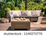 close up of a rattan outdoor... | Shutterstock . vector #1140273770