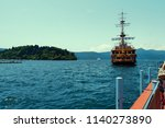 green sea with blue sky... | Shutterstock . vector #1140273890