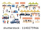 seasonal outdoor street market. ... | Shutterstock .eps vector #1140275966