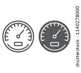 Speedometer Line And Glyph Icon ...