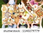 top view on garden table with... | Shutterstock . vector #1140279779