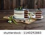 beautiful tasty cake with white ...   Shutterstock . vector #1140292883