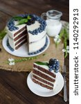 beautiful tasty cake with white ... | Shutterstock . vector #1140292913