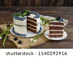 beautiful tasty cake with white ... | Shutterstock . vector #1140292916