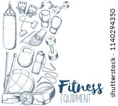 home gym equipment | Shutterstock . vector #1140294350