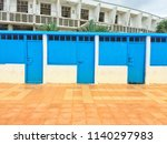 blue beach cloakroom in el... | Shutterstock . vector #1140297983