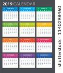 2019 calendar   illustration....   Shutterstock .eps vector #1140298460