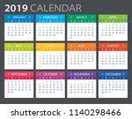 2019 calendar   vector... | Shutterstock .eps vector #1140298466