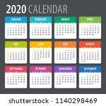 2020 calendar   illustration.... | Shutterstock .eps vector #1140298469