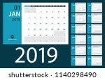 2019 calendar planner   vector... | Shutterstock .eps vector #1140298490