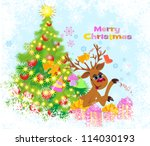 christmas greeting card with... | Shutterstock . vector #114030193