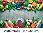 balanced diet food background.... | Shutterstock . vector #1140303893