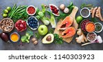 healthy food selection  food... | Shutterstock . vector #1140303923