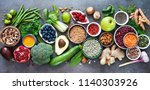 healthy food selection with... | Shutterstock . vector #1140303926