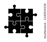 set of black and white puzzle... | Shutterstock .eps vector #1140314156